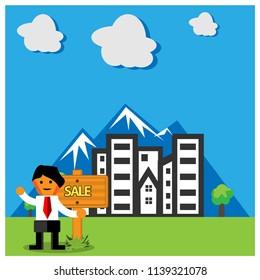 House For Sale. Flat design. Vector illustration on background