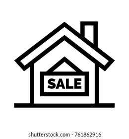 House for sale flat line icon. Real estate property linear vector illustration. Isolated on white background.