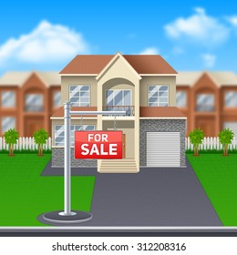 House for sale with lawn and garage and big windows cartoon vector illustration