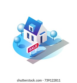 House for sale. Real estate concept. Isometric vector illustration.