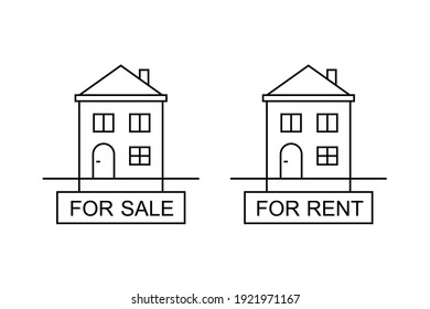 House for sale and for rent sign in line art