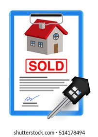 house sale sheet with house key