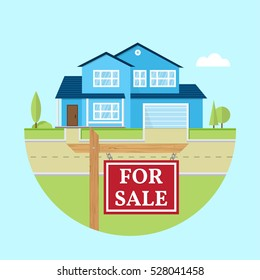 House for sale. Vector flat icon suburban american house. For web design and application interface, also useful for infographics. Family house icon isolated on white background. Real estate.