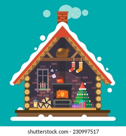 House of Santa Claus. Interior of the house with a fireplace, Christmas tree, gifts, decorations. Vector flat illustration