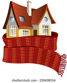 House in a scarf. Save a warm