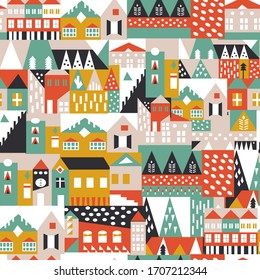 House Seamless Pattern. Scandinavian Abstract Pattern. Fashionable Template for Design. City Landscape Print. Vector EPS 10.