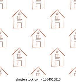 House  seamless pattern.  Vector illustration