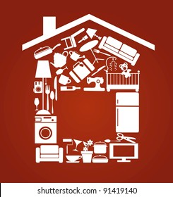 house set with furnitures and elctronics