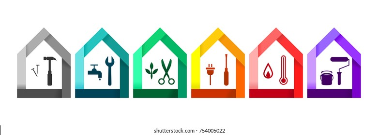House set with various work tools as building and construction concept. Hammer, wrench, clipper, screwdriver, themometer and paint roller icons.