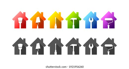 House set with work tools. Repair, renovation, building or construction industry concept. Home set in colorful gradient or gray colors with tool icons isolated on white background.