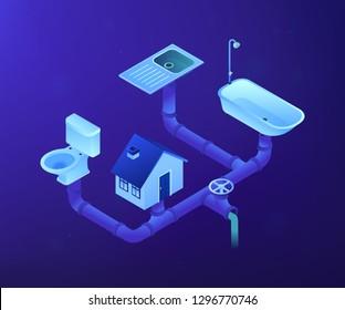 House sewage system with pipes, sink, bath and toilet. Sewerage system, domestic wastewater service, sewer system technologies concept. Ultraviolet neon vector isometric 3D illustration.