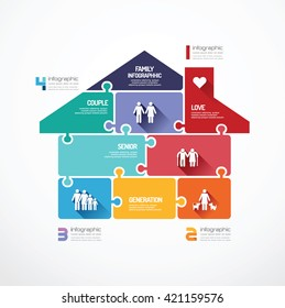 house shape  jigsaw banner . family concept infographic Template vector illustration