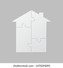 House shape jigsaw infographic banner template. Real estate business presentation. Puzzle pieces four options chart with text space. Data visualization informative poster vector layout with copyspace