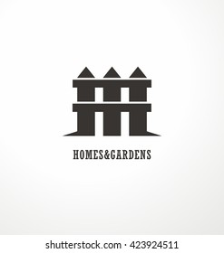 House shape made as a fence creative symbol concept. Home and garden decoration logo design idea. Simple icon vector design for real estate company on white background.