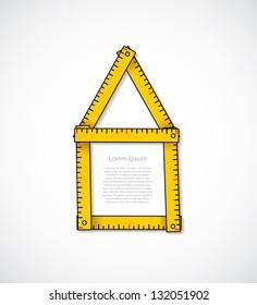House shaped measuring tape - vector illustration
