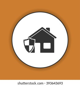 house shield  icon. Flat design style eps 10