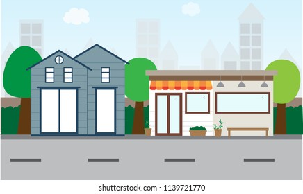 House and shop landscape vector design