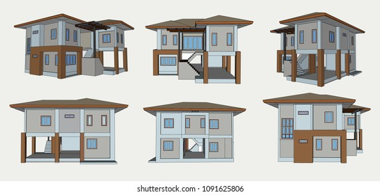 House Side view, Vector & Illustration