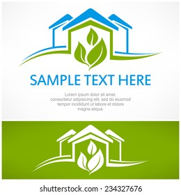 House sign with green leaf, vector illustration