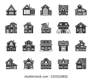 House silhouette icons set. Web sign kit of home exterior. Township pictogram collection includes residence, chalet, rent. Simple cottage black symbol isolated on white. Vector Icon shape for stamp