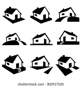 House silhouette icons vector.