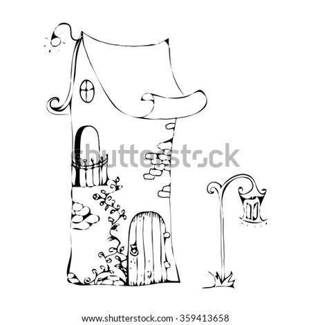House Sketch Fairy Cartoon Hand Drawn Stock Vector Royalty Free
