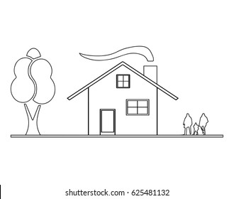 house sketch vector with chimney and smoke from fireplace