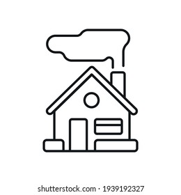 House with smoke from the chimney linear icon. Sustainable development. Eco friendly real estate. Thin line customizable illustration. Contour symbol. Vector isolated outline drawing. Editable stroke