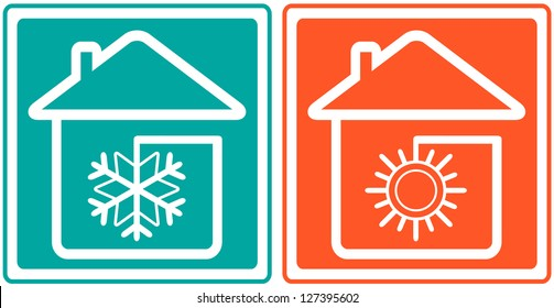 house with snowflake and sun. home conditioner symbol  - climate control
