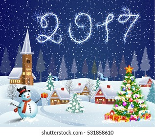 A house in a snowy Christmas landscape at night. christmas tree and snowman. 2017 with sparklers concept for greeting or postal card.