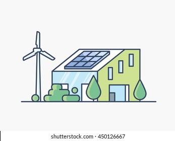 House with solar panel and wind turbine. Eco friendly alternative energy. Line design vector illustration