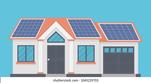 House Solar Panels On Roof Stock Vector Royalty Free 1045229701