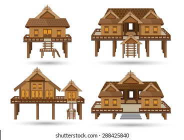 House of Southern Thailand.Thai house style vector.Central Thai Wooden House Beautiful architecture.High detail wooden house Made of vector. One storey high floor to keep the wind blowing.