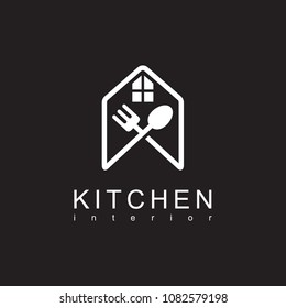 house with spoon and fork logo - Kitchen Logo