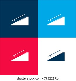 House stairs four color material and minimal icon logo set in red and blue
