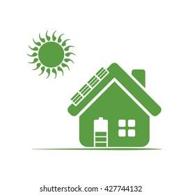 house, sun, ecology green icons set on white background