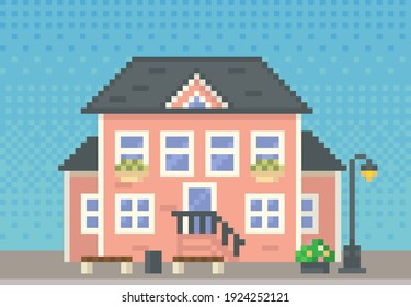 House surrounded by green spaces and plants. Apartment building with many windows for pixel game. Panorama architecture. Layout of mobile app, computer pixelated game. Old architectural construction