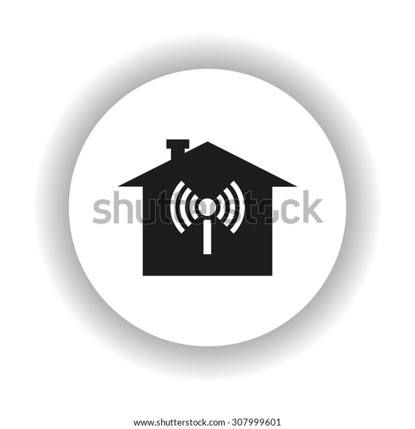 The house is surrounded by a network wi-fi. icon. vector design