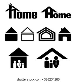 House symbol icon set in black on a white background
