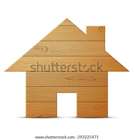 81f54d3b9e36c House symbol of wood isolated on white background. Wooden planks in shape  of home sign