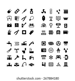 House system icons. Set icons of electricity, heating, plumbing, ventilation isolated on white. Vector illustration