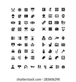 House system icons. Set icons of ventilation, electricity, heating, sewerage, plumbing isolated on white. Vector illustration
