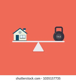 House and tax balance on the scale. Finance planning. Flat house and kettlebell with tax word on scales