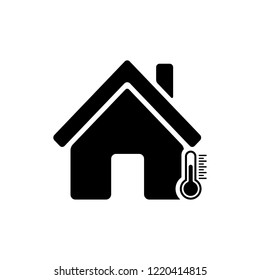 House temperature icon in flat. Temperature control symbol isolated on white background. House and termometer icon in black. Weather, hot and cold climate concept in home Vector illustration for web.