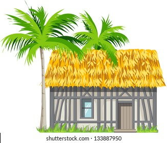 A house with a thatched roof and palm trees