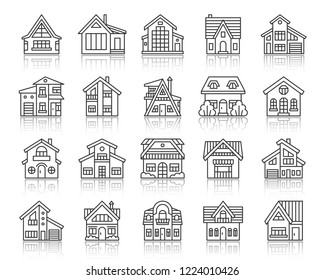 House thin line icons set. Outline sign kit of home exterior. Township linear icon collection includes rental, sale, suburban. Simple cottage black contour symbol with reflection vector Illustration