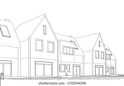 house traditional architecture 3d illustration