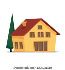 House with tree. Flat cartoon style vector illustration.