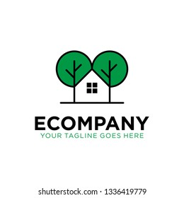 house tree logo design with tree and house/home on negative space concept. eco real estate logo. eco company logo