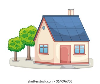 House with trees icon.